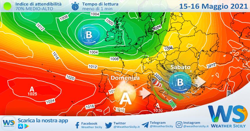 Sicilia: veloce perturbazione sabato. Stabile domenica con l'avvio della stagione balneare.