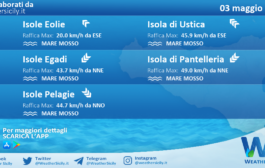Sicilia, isole minori: condizioni meteo-marine previste per lunedì 03 maggio 2021