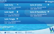 Sicilia, isole minori: condizioni meteo-marine previste per mercoledì 05 maggio 2021