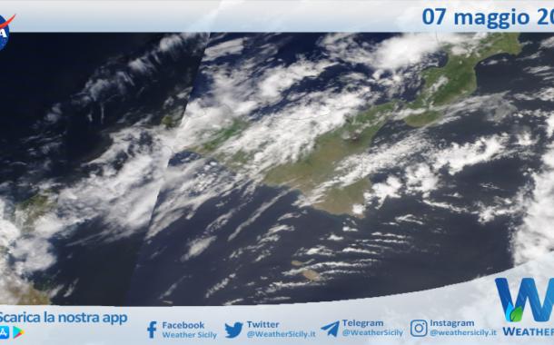 Sicilia: immagine satellitare Nasa di venerdì 07 maggio 2021