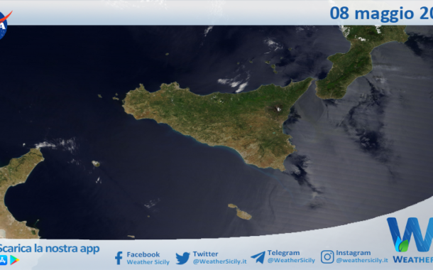 Sicilia: immagine satellitare Nasa di sabato 08 maggio 2021