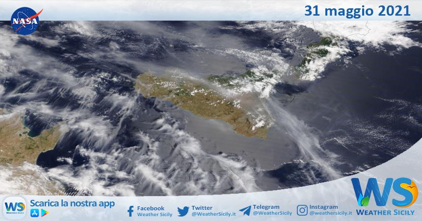 Sicilia: immagine satellitare Nasa di lunedì 31 maggio 2021