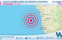 Sicilia: scossa di terremoto magnitudo 2.6 nei pressi di Costa Calabra nord-occidentale (Cosenza)
