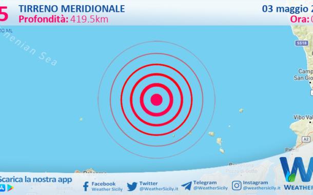 Sicilia: scossa di terremoto magnitudo 3.5 nel Tirreno Meridionale (MARE)