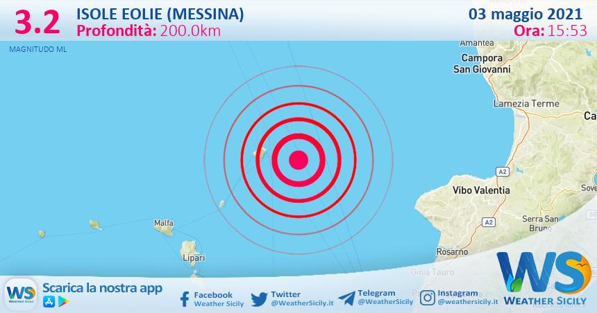 Sicilia: scossa di terremoto magnitudo 3.2 nei pressi di Isole Eolie (Messina)
