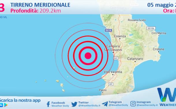 Sicilia: scossa di terremoto magnitudo 3.3 nel Tirreno Meridionale (MARE)