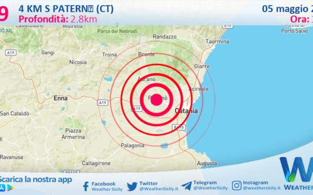 Sicilia: scossa di terremoto magnitudo 2.9 nei pressi di Paternò (CT)