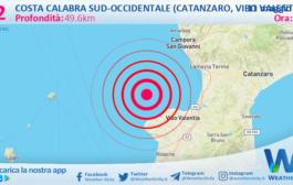 Sicilia: scossa di terremoto magnitudo 3.2 nei pressi di Costa Calabra sud-occidentale (Catanzaro, Vibo Valentia, Reggio di Calabria)