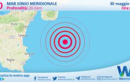 Sicilia: scossa di terremoto magnitudo 3.0 nel Mar Ionio Meridionale (MARE)