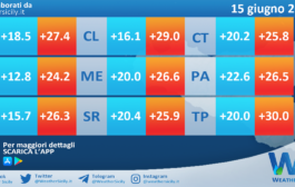 Temperature previste per martedì 15 giugno 2021 in Sicilia