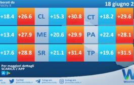 Temperature previste per venerdì 18 giugno 2021 in Sicilia