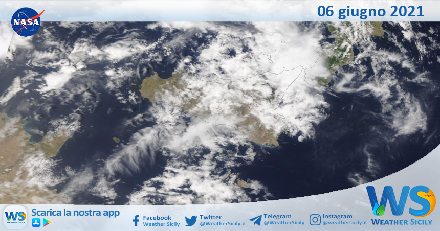 Sicilia: immagine satellitare Nasa di domenica 06 giugno 2021