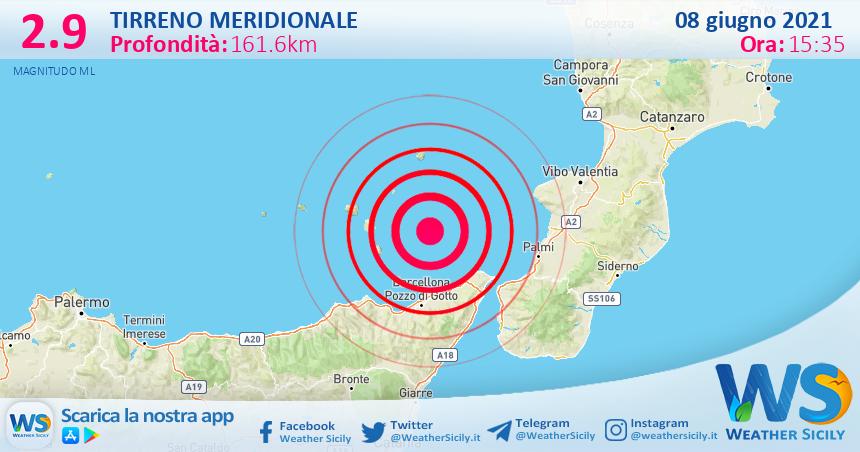 Sicilia: scossa di terremoto magnitudo 2.9 nel Tirreno Meridionale (MARE)
