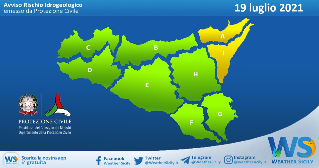 Sicilia: avviso rischio idrogeologico per lunedì 19 luglio 2021