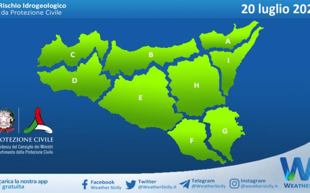 Sicilia: avviso rischio idrogeologico per martedì 20 luglio 2021