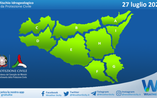 Sicilia: avviso rischio idrogeologico per martedì 27 luglio 2021