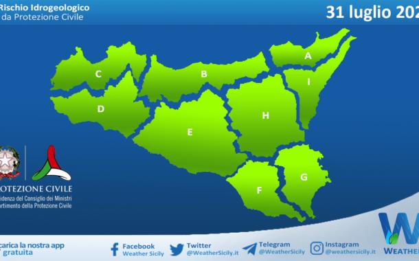 Sicilia: avviso rischio idrogeologico per sabato 31 luglio 2021
