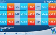 Temperature previste per mercoledì 21 luglio 2021 in Sicilia