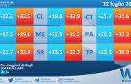 Temperature previste per giovedì 22 luglio 2021 in Sicilia