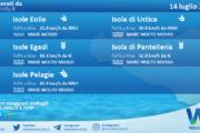Sicilia, isole minori: condizioni meteo-marine previste per mercoledì 14 luglio 2021