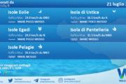 Sicilia, isole minori: condizioni meteo-marine previste per mercoledì 21 luglio 2021