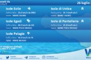 Sicilia, isole minori: condizioni meteo-marine previste per lunedì 26 luglio 2021