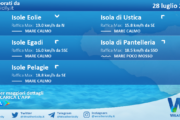 Sicilia, isole minori: condizioni meteo-marine previste per mercoledì 28 luglio 2021