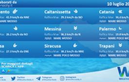 Sicilia: condizioni meteo-marine previste per sabato 10 luglio 2021