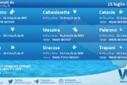 Sicilia: condizioni meteo-marine previste per giovedì 15 luglio 2021