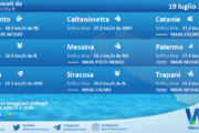 Sicilia: condizioni meteo-marine previste per lunedì 19 luglio 2021