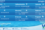 Sicilia: condizioni meteo-marine previste per lunedì 26 luglio 2021