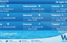 Sicilia: condizioni meteo-marine previste per mercoledì 28 luglio 2021