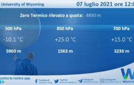 Sicilia: Radiosondaggio Trapani Birgi di mercoledì 07 luglio 2021 ore 12:00