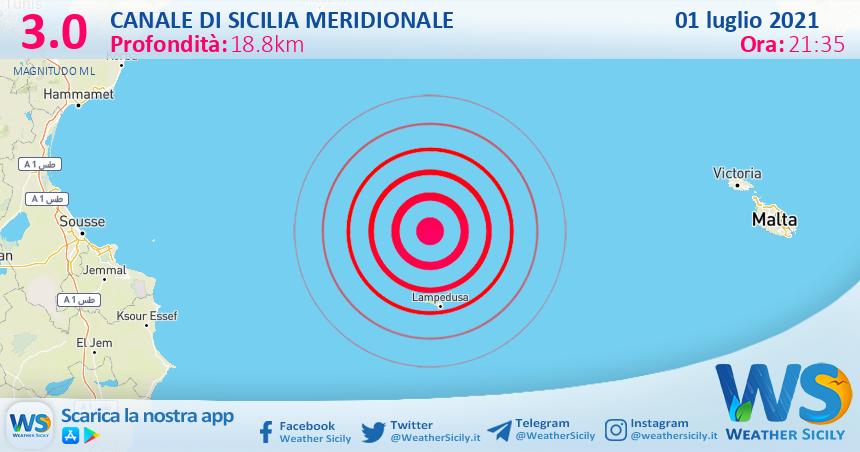 Sicilia: scossa di terremoto magnitudo 3.0 nel Canale di Sicilia meridionale (MARE)