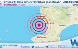 Sicilia: scossa di terremoto magnitudo 2.6 nei pressi di Costa Calabra sud-occidentale (Catanzaro, Vibo Valentia, Reggio di Calabria)