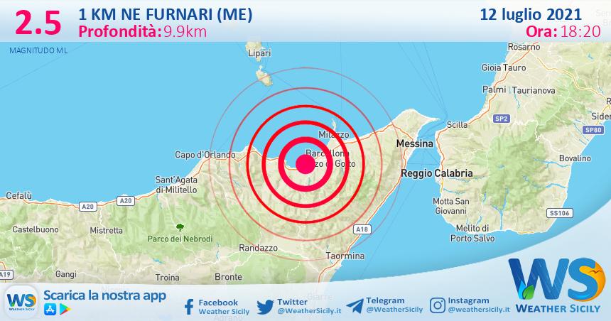 Sicilia: scossa di terremoto magnitudo 2.5 nei pressi di Furnari (ME)