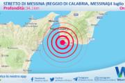 Sicilia: scossa di terremoto magnitudo 3.0 nei pressi di Stretto di Messina (Reggio di Calabria, Messina)