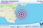 Sicilia: scossa di terremoto magnitudo 2.7 nel Mar Ionio Meridionale (MARE)