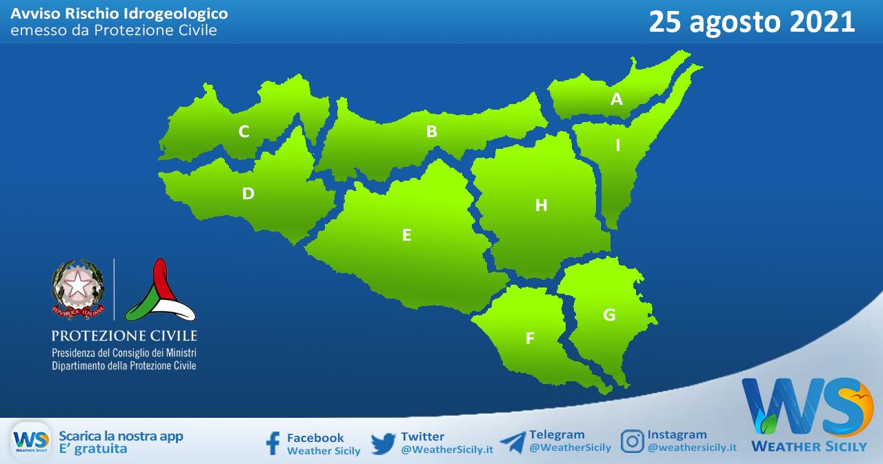 Sicilia: avviso rischio idrogeologico per mercoledì 25 agosto 2021