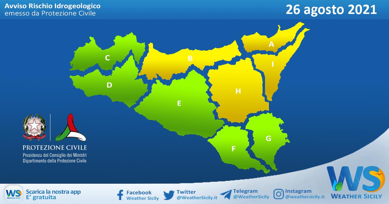 Sicilia: avviso rischio idrogeologico per giovedì 26 agosto 2021