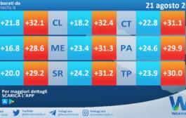 Temperature previste per sabato 21 agosto 2021 in Sicilia