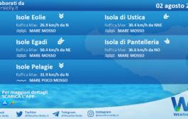 Sicilia, isole minori: condizioni meteo-marine previste per lunedì 02 agosto 2021