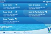 Sicilia, isole minori: condizioni meteo-marine previste per giovedì 05 agosto 2021