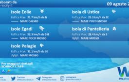 Sicilia, isole minori: condizioni meteo-marine previste per lunedì 09 agosto 2021