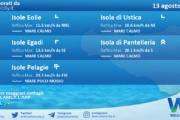 Sicilia, isole minori: condizioni meteo-marine previste per venerdì 13 agosto 2021