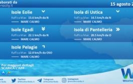 Sicilia, isole minori: condizioni meteo-marine previste per domenica 15 agosto 2021