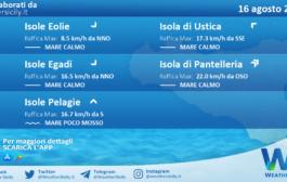 Sicilia, isole minori: condizioni meteo-marine previste per lunedì 16 agosto 2021