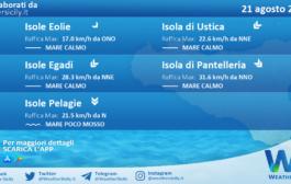 Sicilia, isole minori: condizioni meteo-marine previste per sabato 21 agosto 2021