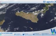 Sicilia: immagine satellitare Nasa di lunedì 02 agosto 2021