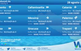 Sicilia: condizioni meteo-marine previste per sabato 28 agosto 2021